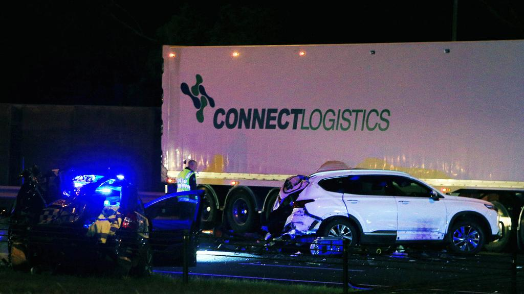 The semi-trailer that crashed on the freeway at Kew on April 22 was owned by Connect Logistics. Picture: Aaron Francis/The Australian