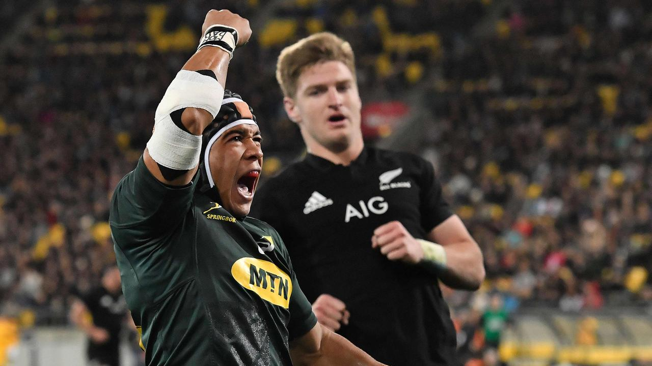 South Africa's Cheslin Kolbe celebrates a try during the Rugby Championship.