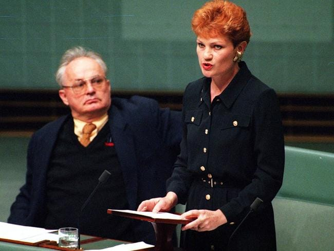 Pauline Hanson, then the independent MP for Oxley, delivers her maiden speech in 1996.