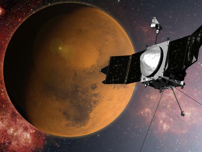 What will it find? ... In this artist concept provided by NASA, the MAVEN spacecraft approaches Mars on a mission to study its upper atmosphere. Pic: AP Photo/NASA