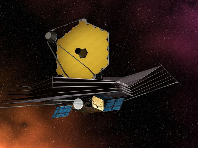 The James Web Space Telescope displaying its primary mirror, sun shield, solar panels and spacecraft bus.