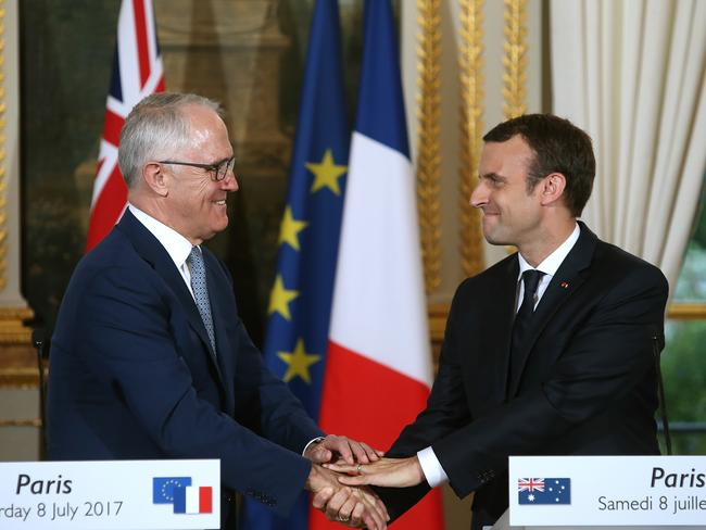 PM Malcolm Turnbull and French President Emmanuel Macron had a friendly exchange in front of the media.