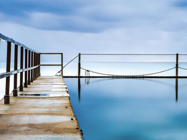 Glenn Albert's picture shows the still water in the Cronulla Pools.