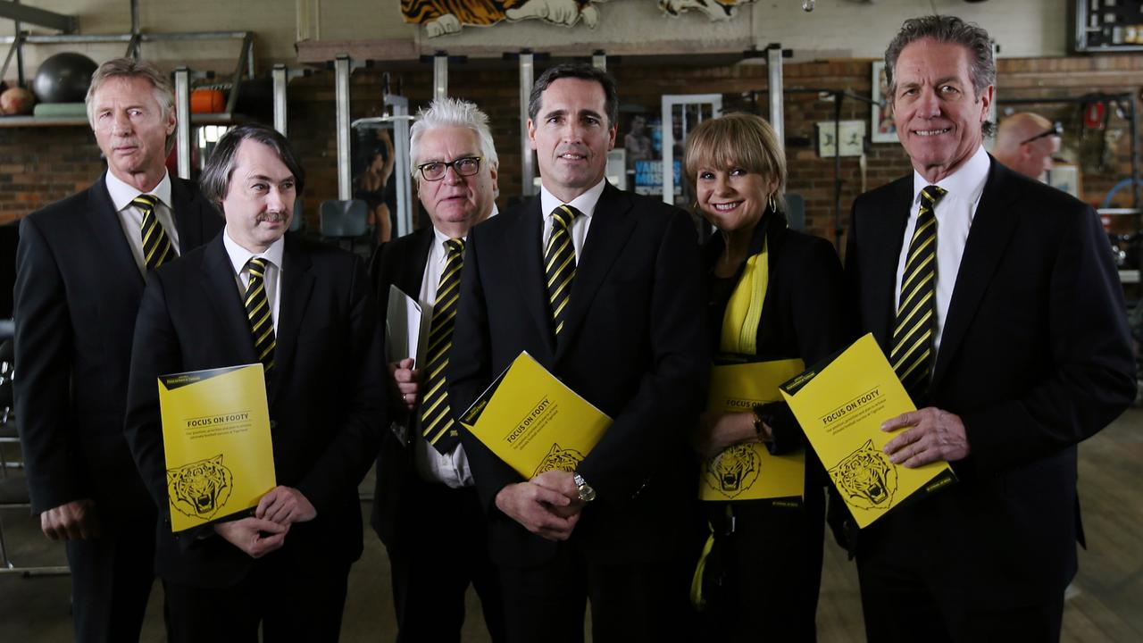 Members of the infamous 'Focus on Footy' crew who threatened to challenge the Richmond board in 2016, which was arguably Damien Hardwick's toughest season as coach. Photo: Michael Klein