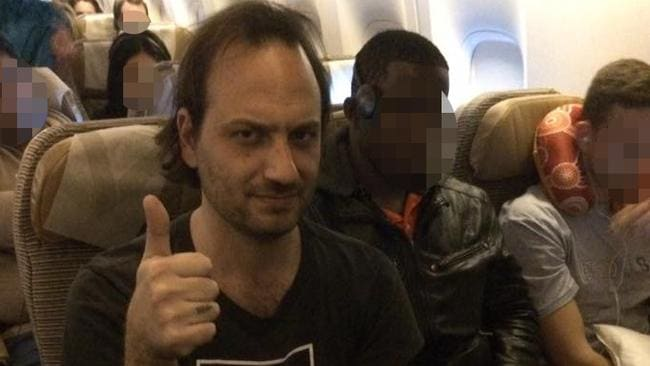 Despite the thumbs up, Jeremy Cassar was not happy about the seating arrangements. It was a tight fit for a 14-hour flight.