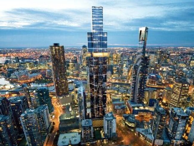 The under-construction Australia 108 building will surpass Eureka Tower, on the right, as Melbourne's highest structure. It's tenure will be short, however, as it will be surpassed by the new tower from Crown Resorts.