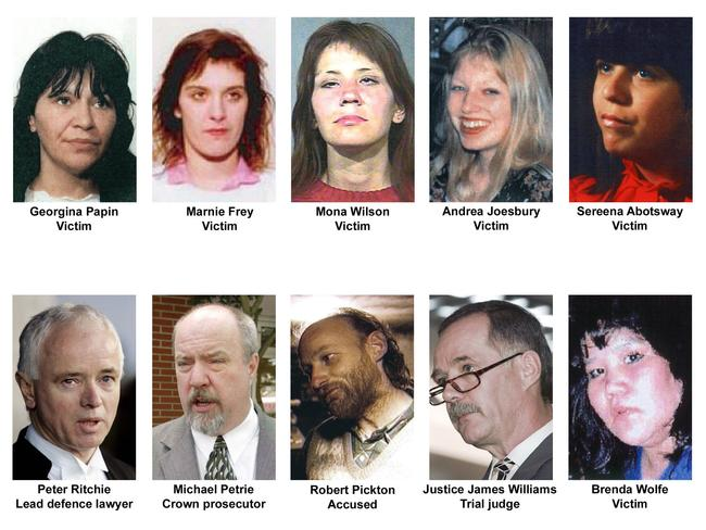 Robert William Pickton's six victims are pictured, as well as the trial judge, defence lawyer, prosecutor and Pickton. Picture: AP Photo/Canadian Press, BCTV, Vancouver Sun, Vancouver Province