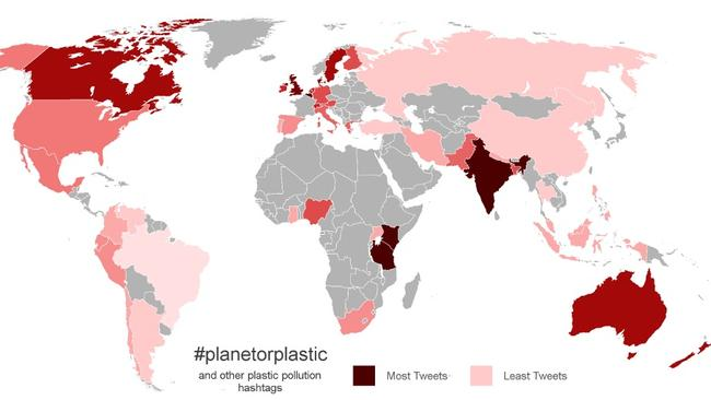 This map shows the percentage of overall tweets referring to plastic. In Kenya, 4.9 per cent of tweets were about plastic while only 0.4 per cent of tweets coming out of the US are about the issue.