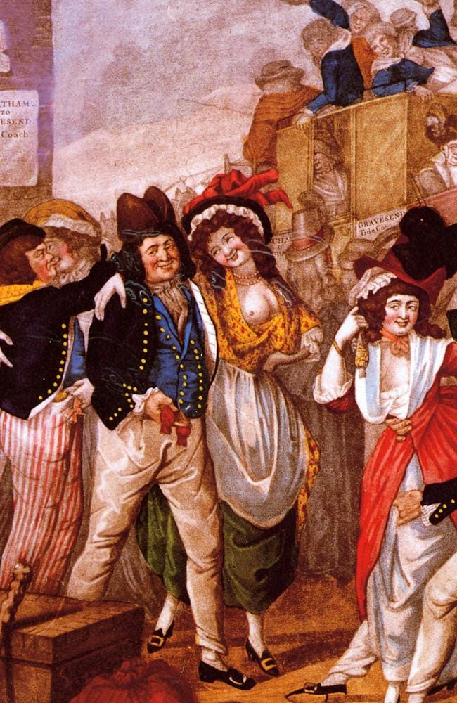 The book 'The Floating Brothel (the ship the Lady Juliana) by Sian Rees contains illustrations of 18th century female convicts turned shipboard prostitutes.