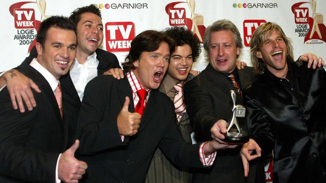 The Australian Idol crew at the 2004 Logies, from left: Shannon Noll, James Mathison, Mark Holden, Guy Sebastian, Dicko and Andrew G.