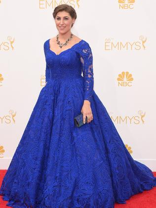 Mayim Bialik attends the 66th Annual Primetime Emmy Awards.