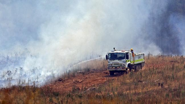 Fire crews conduct backburning around the Bungamero Plantation. Picture: Aaron Francis/The Australian