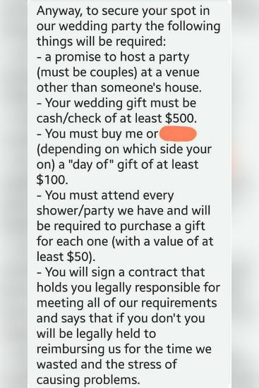 The ridiculous requirements the bride sent to each of her seven friends. Source: Reddit