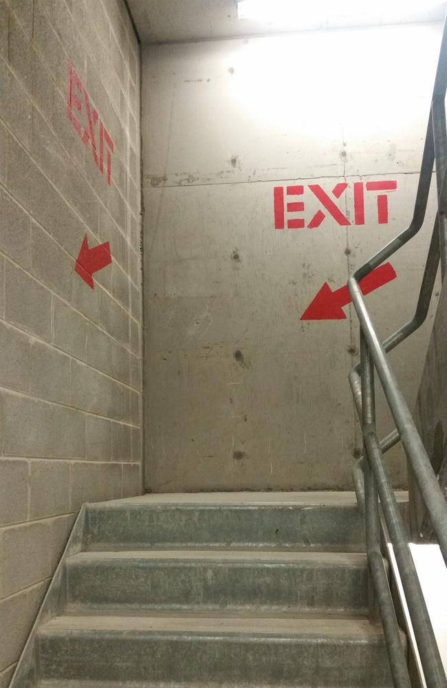 Inside the stairwell at Westfield Bondi Junction where Bernard Gore's body was found, three weeks after he was reported missing.