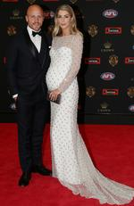 Melbourne captain Nathan Jones and his pregnant wife Jerri on the Brownlow red carpet.