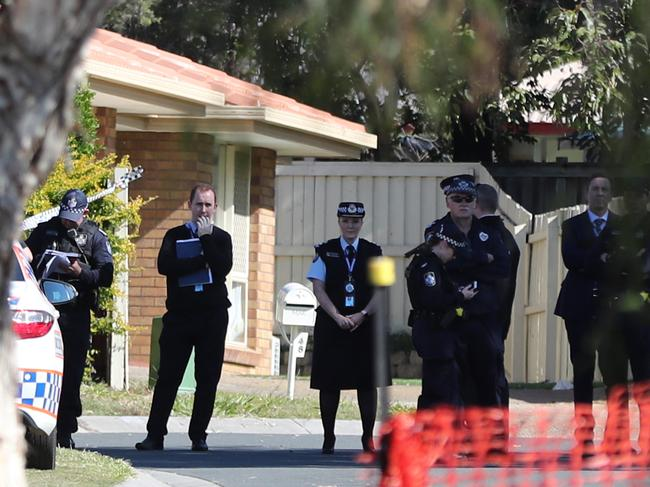 Police outside the home. Picture: Peter Wallis