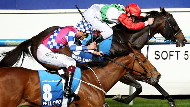 Rebel Dane (inside) wins the Manikato Stakes ahead of Fell Swoop at Moonee Valley on Friday night.