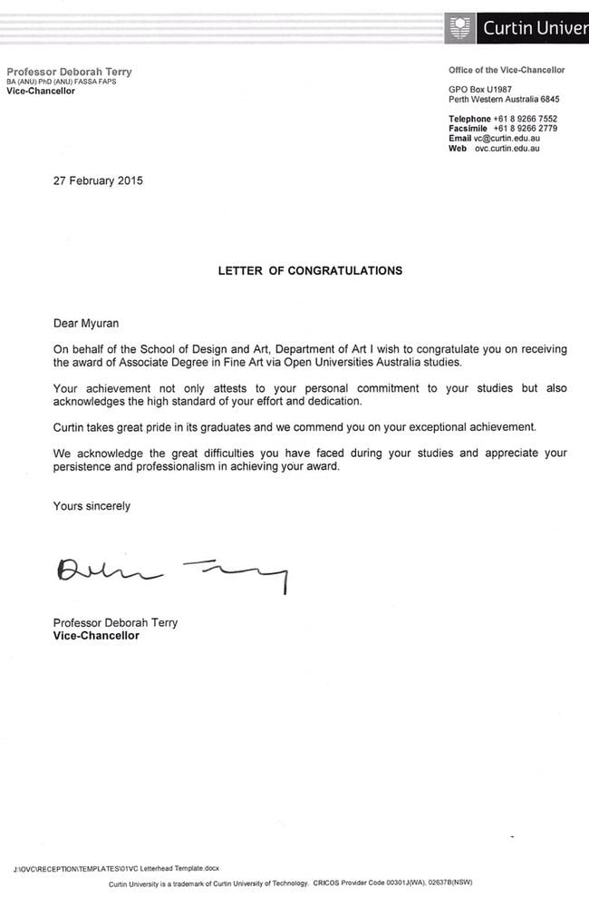 Congratulations ... Curtin University's Vice-Chancellor Professor Deborah Terry sent Myuran Sukumaran a letter of special congratulations. Picture: Supplied