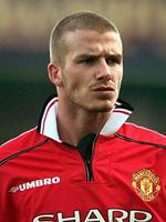 <p>2000: Manchester United player David Beckham displays his new haircut during FA premiership game against Leicester City at Filbert Stadium.</p>