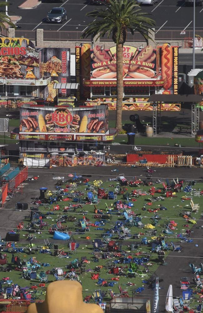 Personal belongings are gathered on the ground at the venue of the Route 91 Harvest Festival venue. Picture: AFP