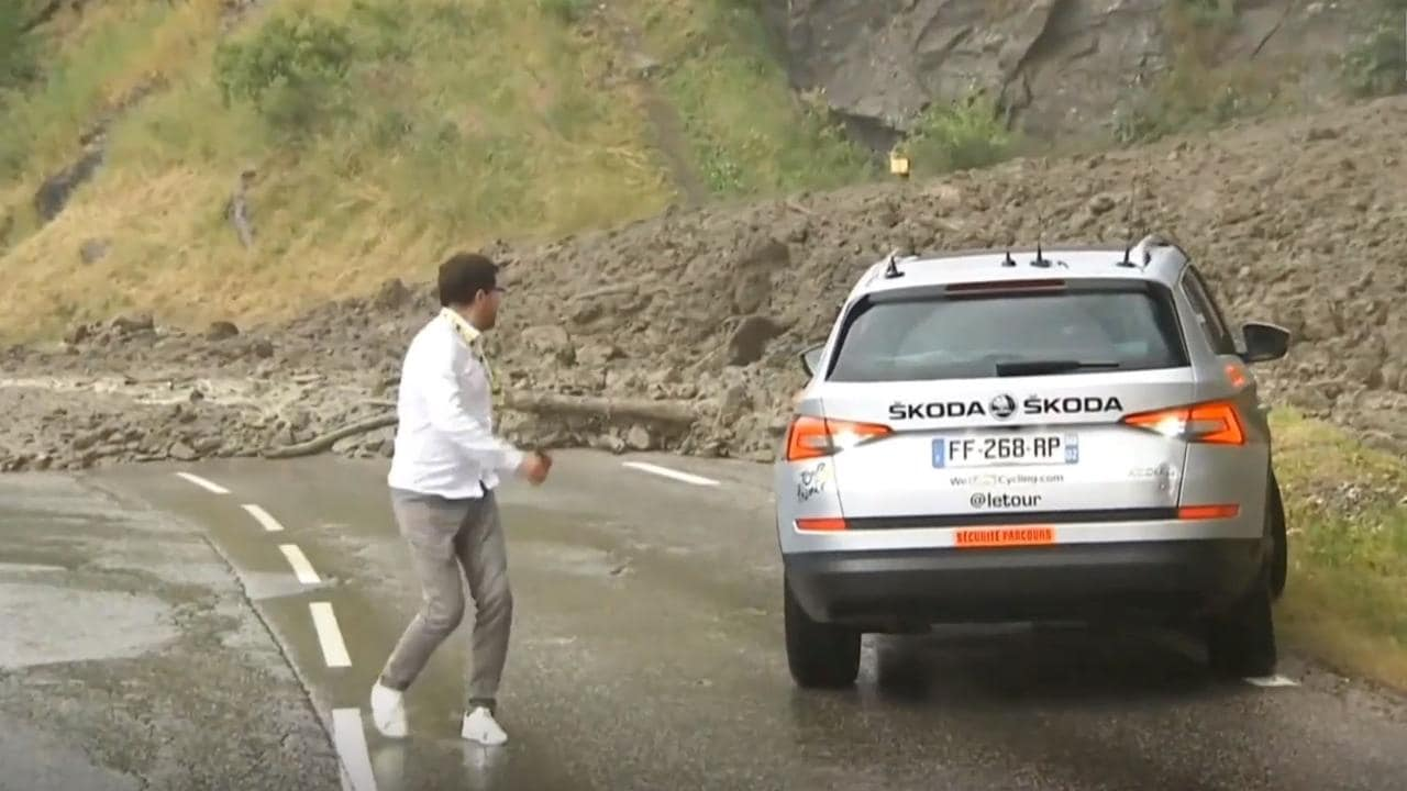 A landslide forced a stage of the Tour de France to be cancelled.