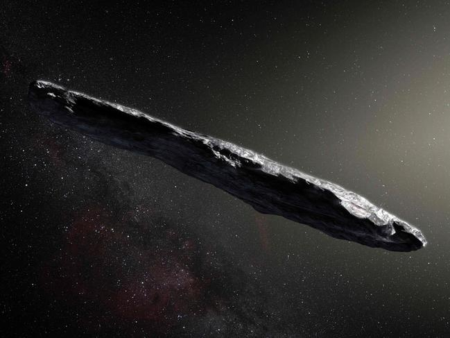 A photo released by the European Southern Observatory on November 20, 2017 shows an artist's impression of the first interstellar asteroid, Oumuamua. Picture: AFP