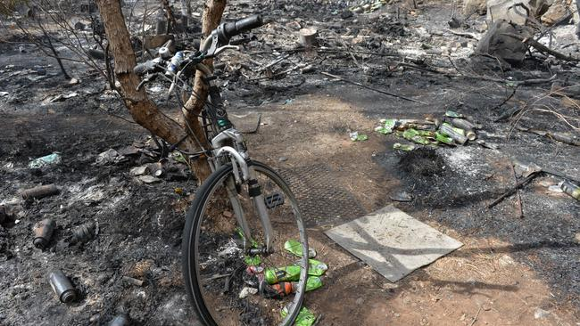 The makeshift campsite where the bushfire started. Picture: AAP / Mark Brake