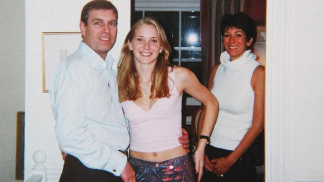 Prince Andrew and Virginia Roberts, aged 17 at Ghislaine Maxwell's townhouse in London.