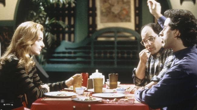 The Lip Reader episode: Marlee Matlin as Laura, Jason Alexander as George Costanza and Jerry Seinfeld as himself.