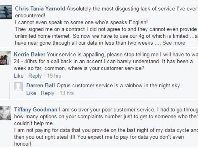Optus customer service slammed on Facebook page