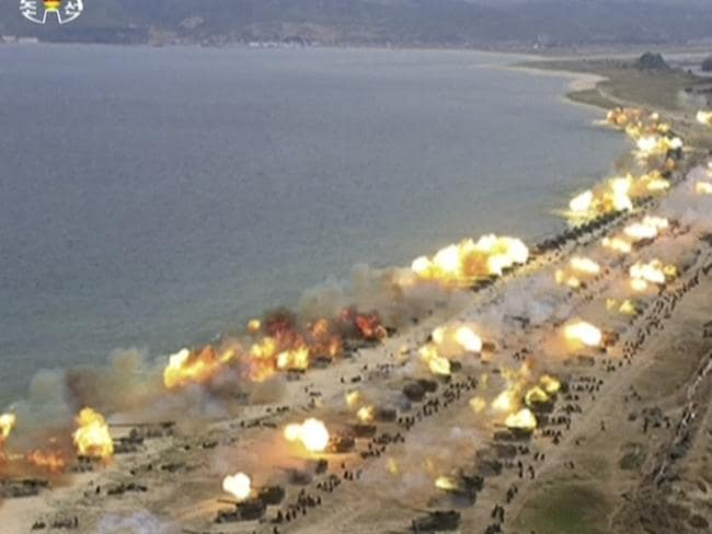 North Korea's displays of military prowess are impossible to verify independently. Picture: KRT via AP Video.
