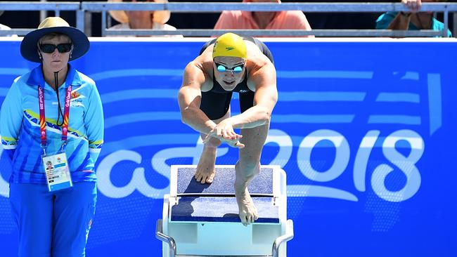 Cate Campbell gets off the blocks to start her heat of the Womens 50m Butterfly.