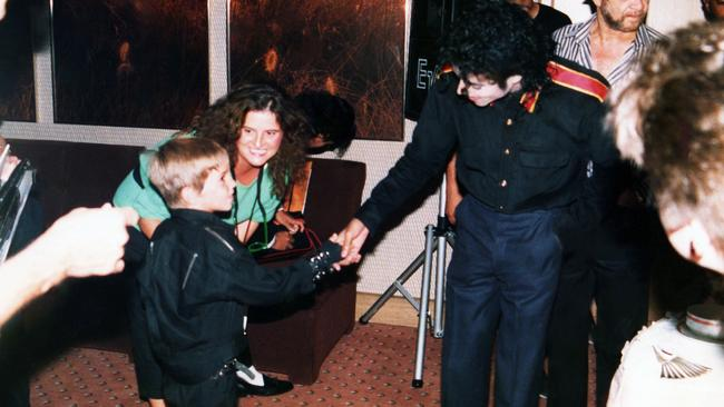 A young Wade Robson meets Michael Jackson for the first time in 1987. Picture: HBO via AP