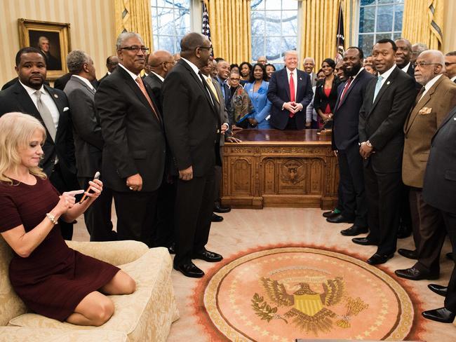 Kellyanne Conway in the Oval Office. Picture: Brendan Smialowski/AFP
