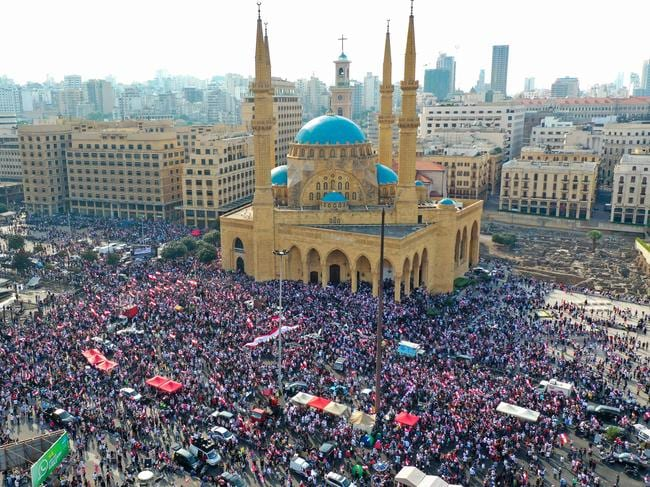Protesters rallying in Beirut yesterday. Picture: AFP