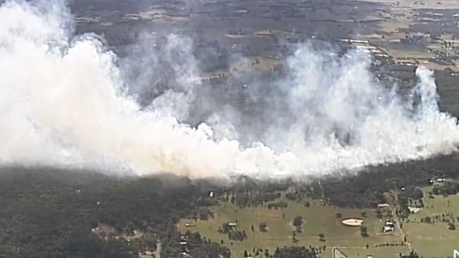 The fire now measures at least 20ha. Picture: 7 News