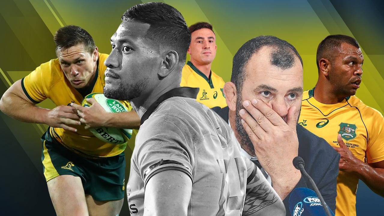 Dane Haylett-Petty, Israel Folau, Tom Banks, Michael Cheika and Kurtley Beale.