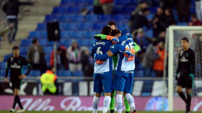 Espanyol players celebrate their goal