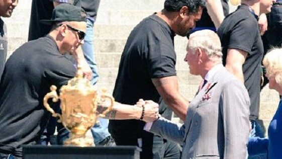 All Black Sonny Bill Williams greets Britain's Prince Charles after the 2015 World Cup final.
