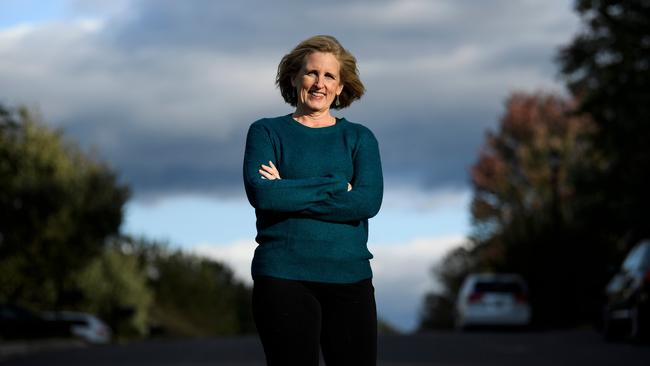 Juli Briskman, who was fired after giving US President Donald Trump's motorcade the middle finger while cycling, has won a seat on the Loudoun County Board of Supervisors, in Sterling, Virginia. Picture: Brendan Smialowski / AFP.
