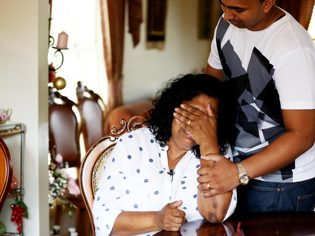 Raji comforted by her Chinthu as she opens up about Myuran failed clemency bid. Picture: News Corp Australia.
