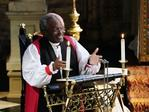 The Most Rev Bishop Michael Curry, primate of the Episcopal Church, speaks during the wedding ceremony of Prince Harry and Meghan Markle at St. George's Chapel in Windsor Castle in Windsor, near London, England, Saturday, May 19, 2018. Credit: Owen Humphreys/pool photo via AP