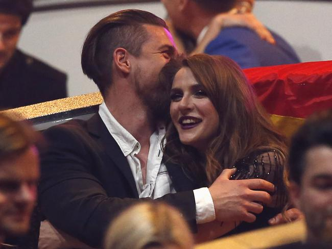 The loved-up couple: Jana Burceska and her boyfriend after he popped the big question.