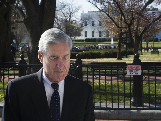 Special counsel Robert Mueller walks past the White House after attending services at St. John's Episcopal Church, in Washington. Picture: AP