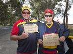 Crows fans, Matthew Cold and Danny Potuszynski drove to Melbourne overnight in the hope of scoring tickets to the 2017 AFL Grand Final. Picture: Sarah Matray