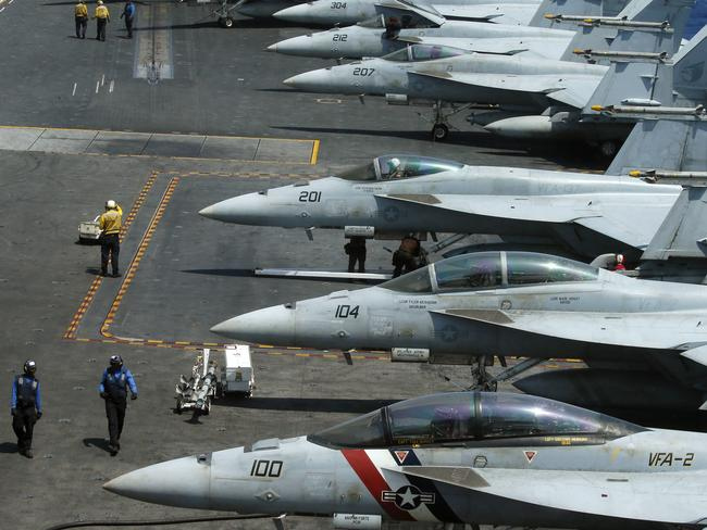 The Vinson is loaded with F18 fighter jets. Picture: AP Photo/Bullit Marquez