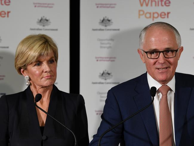 Prime Minister Malcolm Turnbull with Foreign Minister Julie Bishop at the 2017 Foreign Policy White Paper launch today.