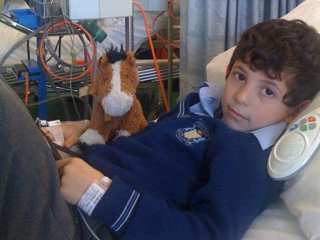 Gidon Goodman during a hospital stay. He is currently running an online petition to lower the costs of parking at hospitals. Picture: Supplied