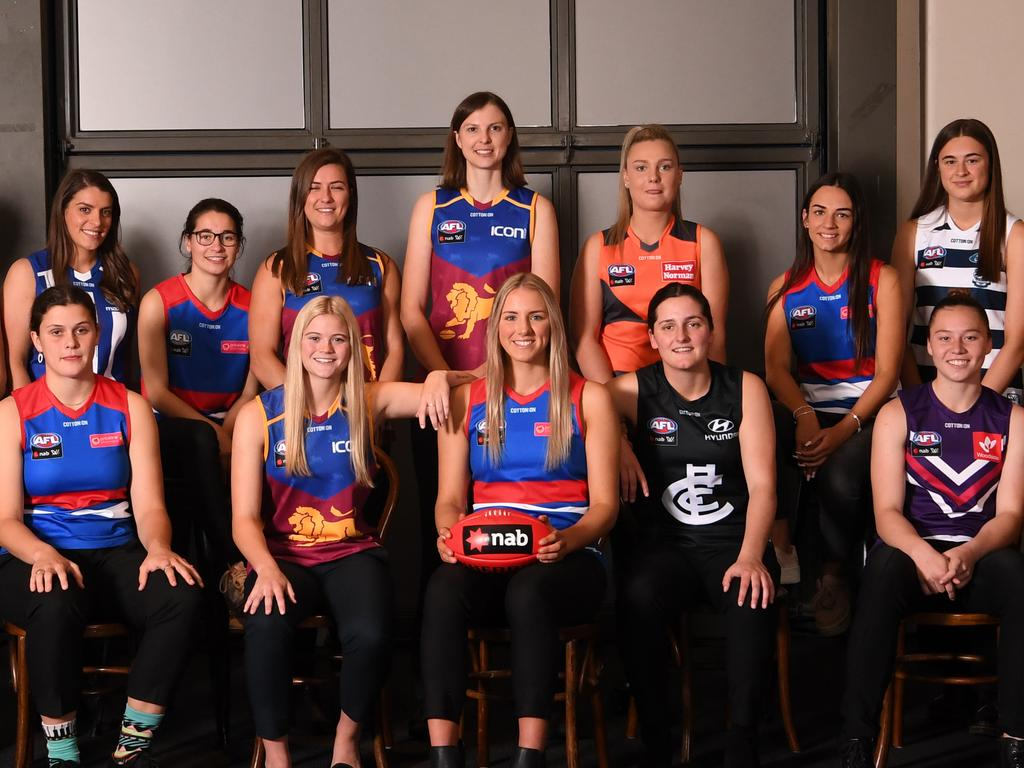 Round One selections in the the 2019 NAB AFL Womens Draft are photographed at the Melbourne Showgrounds in Melbourne, Tuesday, October 22, 2019. (AAP Image/Julian Smith) NO ARCHIVING