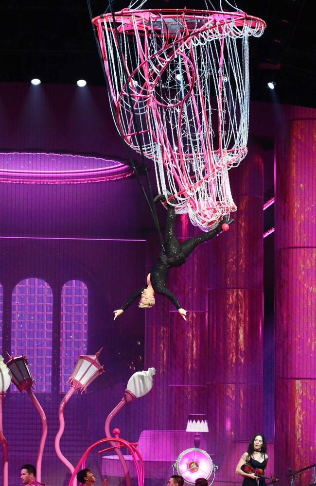 Pink soars over fans during the intense two hour show at Qudos Bank Arena.